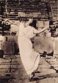 Rare Card with photo of Isadora Duncan at Dionysous Theater